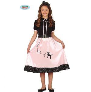 Kids 50s Poodle Girl Fancy Dress Costume