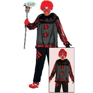 Adult Halloween Crazy Clown Black Costume
