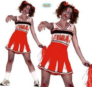 Ladies Halloween Zombie Cheerleader Costume