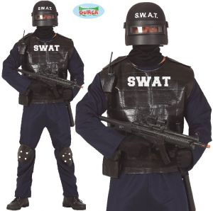 Mens SWAT Police Fancy Dress Costume
