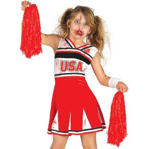 Childs Halloween Zombie Cheerleader Costume