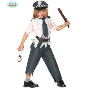 Childs Halloween Zombie Police Boy Costume