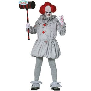 Mens Halloween Grey Killer Clown Costume
