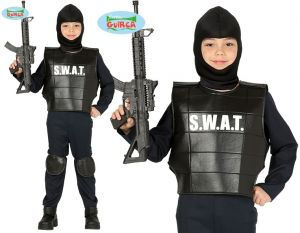 Childs SWAT Police Fancy Dress Costume