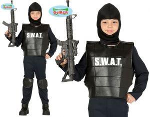 Childs SWAT Police Fancy Dress Costume