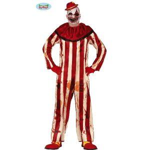 Mens Halloween Striped Killer Clown Costume