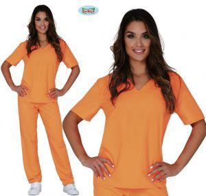 Ladies Orange Convict Prisoner Girl Costume