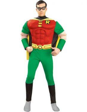 Mens Superhero Deluxe Robin Costume - S, M & L