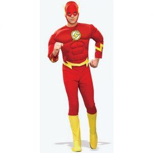 Mens Superhero Fancy Dress The Flash Costume