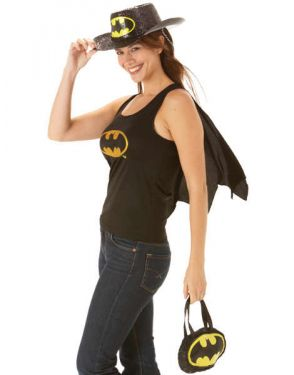 Superhero Fancy Dress - Sexy Batgirl Vest with Cape - Small 8-10