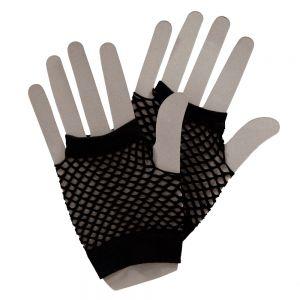 80s Fancy Dress Short Fishnet Mesh Gloves - Black