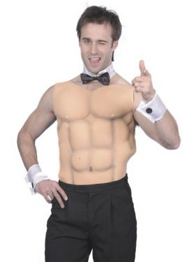 Mens Fancy Dress Muscle Chest & Abs Panel