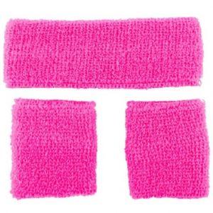 Pink Sweatbands and headband set