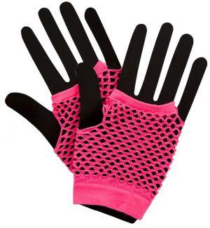 Short Pink Mesh Gloves