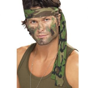 A man wearing a camo printed army headband