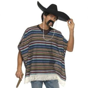 Mexican Fancy Dress Authentic Look Poncho - One Size