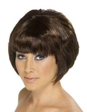 Ladies Babe Bob Fancy Dress Wig - Brown