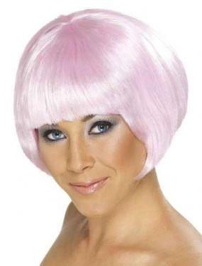Ladies Fancy Dress Babe Bob Wig - Pink