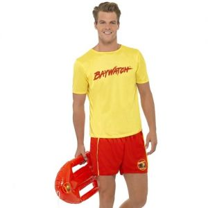 1980s Mens Baywatch Beach Lifeguard Costume