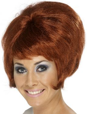 Ladies 60s Beehive Fancy Dress Wig - Auburn