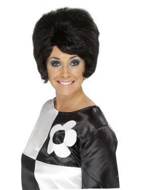 Ladies 1960s Beehive Fancy Dress Wig - Black