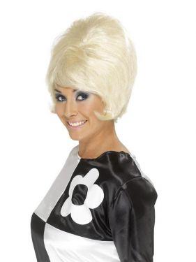 Ladies 60s Beehive Fancy Dress Wig - Blonde