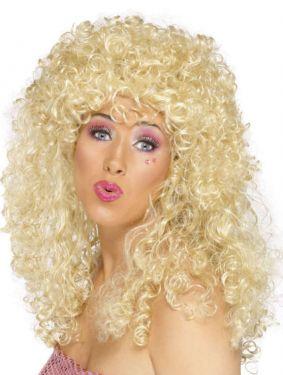80s Fancy Dress - Boogie Babe Wig - Blonde