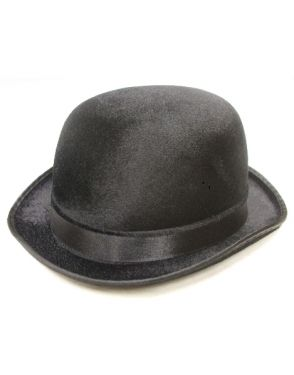 Fancy Dress Bowler Hat - Velour - Black