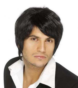 Mens Boy Band Fancy Dress Wig - Black