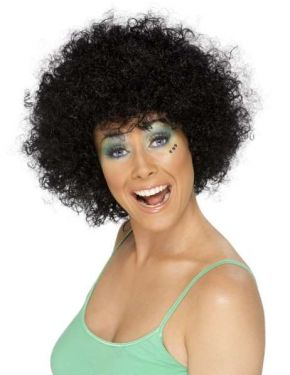 Unisex Funky 70s Afro Fancy Dress Wig - Black