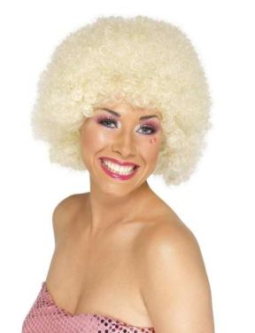 Unisex 70s Funky Afro Fancy Dress Wig - Blonde
