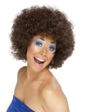 Unisex Funky 1970s Brown Afro Fancy Dress Wig
