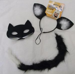 Save 10% - Halloween Fancy Dress Cat Set - 3 Piece Mask Set
