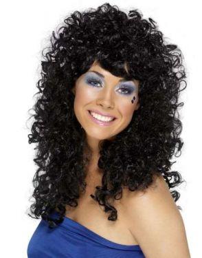 80s Fancy Dress - Boogie Babe Wig - Black