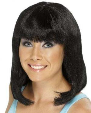 Ladies Cheerleader Fancy Dress Black Wig