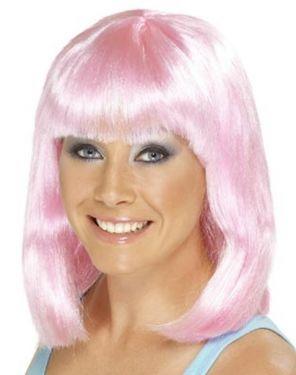 Ladies Cheerleader Fancy Dress Wig Pink