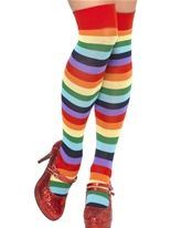 Clown Fancy Dress Striped Socks - Multi Coloured
