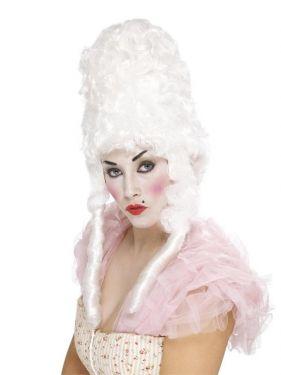 Ladies Court Lady Hi Pompadour Wig White