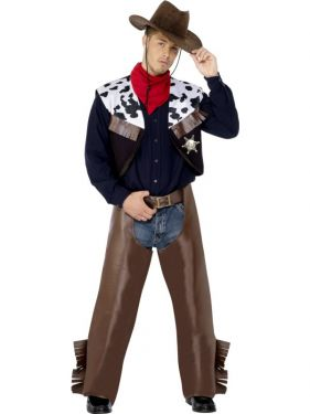 Cowboy Fancy Dress Costume - Brown - Medium