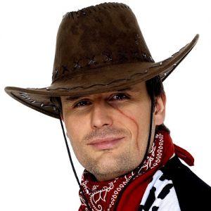 Cowboy Fancy Dress Suede Look Hat - Brown