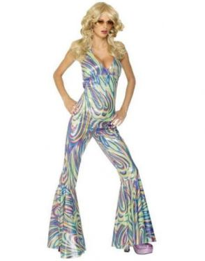 Ladies 70s Dancing Queen Catsuit Costume - S, M & L