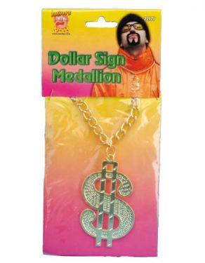 70s Fancy Dress Pimp Dollar Medallion with Chunky Chain