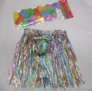 Childrens Hawaiian Fancy Dress - Hula Skirt & Garland Set