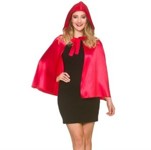 Adult Deluxe Satin Look Short Hooded Cape