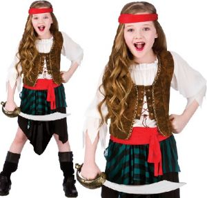 Childrens Caribbean Pirate Girl Fancy Dress Costume