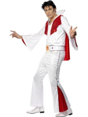 Mens Elvis Fancy Dress Costume & Cape - White/Red - M & L