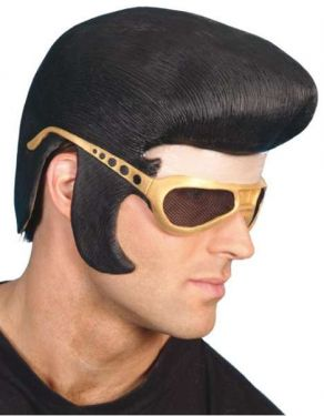 Mens Elvis 50s Fancy Dress Rubber Headpiece & Glasses