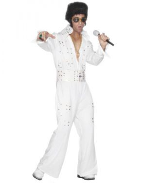 Elvis Deluxe Costume - White/Jewelled - Medium
