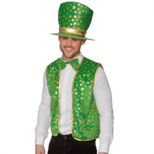 Leprechaun St Patricks Day Fancy Dress Hat & Waistcoat Set