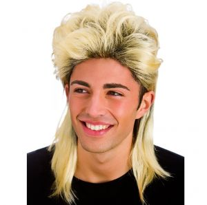 80s Mullet Fancy Dress Wig - Blonde with roots
